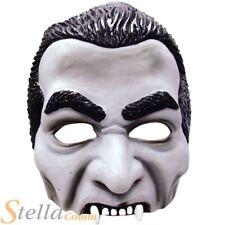 Adult Dracula Vampire Moulded Rubber Half Face Mask Horror Halloween Fancy Dress