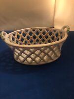 OUTEIRO AGUEDA PORTUGAL Ceramic Porcelain reticulated lattice woven basket dish.