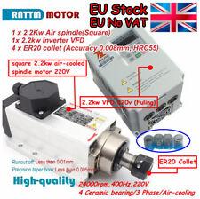 <EU> Square 2.2KW ER20 Air Cooled Spindle Motor+2.2KW VFD Inverter CNC Milling