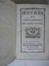 OEUVRES DU PHILOSOPHE DE SANS-SOUCI 1760 FREDERIC II ROI DE PRUSSE