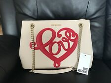 Brand New LOVE MOSCHINO Ladies Cream Beige and Red Heart Large Shoulder Bag