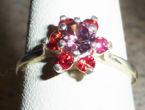 5mm Montana Sapphire Passion Pink Ring in HALO w/ RUBIES AUTHENTIC sz.7 Sterling