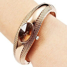 Beauty Women's Girl's Fashion Bronze Bracelet Bangle Crystal Wrist Watch Novelty