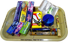 Raw Rolling Tray Starter Gift Set Juicy Jays Flavoured Papers Rolls Herb Grinder