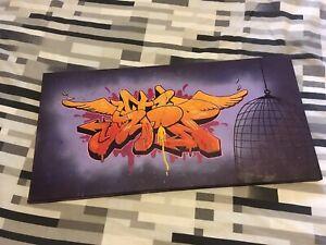 Melbourne Graffiti STOPEM CKA Art Original Canvas Painting Drawing Street