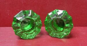 2 VINTAGE NOS HOOSIER SELLERS CABINET GREEN GLASS KNOBS