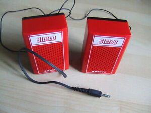 Red Vintage Sanyo Sportster JSX-37 Vintage Retro Mini Speakers Cassette Player