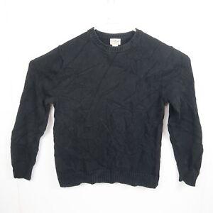 LL Bean Mens Knit Sweater Size M Black Crew Neck Pullover Jumper