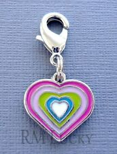 Dangle Heart Clip On Charm w/ Lobster Clasp for Link Chain, floating locket C94