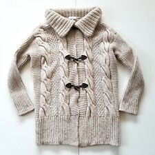 Paola Manfredi Heavy Chunky Cable Knit Cardigan Sweater S Wool/Alpaca Blend Tan