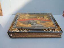 "Oriental Black vintage post card album in wooden box 14"" x 11"" x 2"""