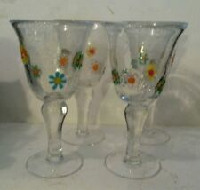 Hand Mouth Blown Wine Glasses Goblets Set of 4 Flowers Bubbles Heavy Art