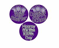 Adhesive Label Assorted '100 Days' Teacher School Stickers, 2-1/2-Inch, Purple