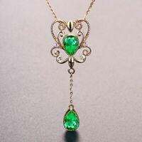 Damen Halskette Silber 925 Schlangen Königin Smaragd Stein Anhänger Geschenk Neu