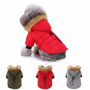 Warm Hoodie Jacket With Fur For Dogs Solid Patterned Polyester Comfortable Coats