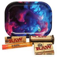 RAW 1 1/4 Rolling Papers, 79mm Roller,Leaf Lock Gear Mini Tray (Swirl) and MORE