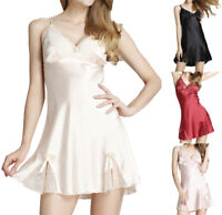 Satin Nightgown for Women Lace Sexy Slip Chemise Lingerie Silky v-Neck Sleepwear