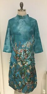 "Turquoise Cheongsam Mandarin Style Dress,19"" Armpit to Armpit Approximately"