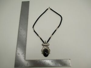 Vintage Sterling Silver Tuareg Berber Homemade African Necklace Onyx Stone S3778