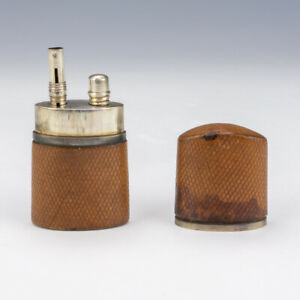 Antique Tan Leather Covered - Inkwell Travel Ink Well Bottle