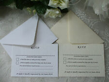 RSVP CARDS & ENVELOPES FOR WEDDINGS ETC WITH DIETARY REQUIREMENTS