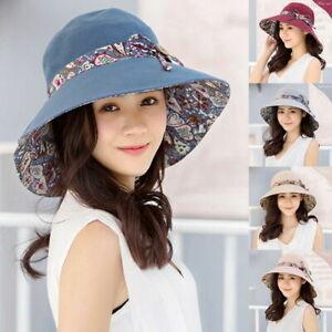 Women's Summer Wide Brim Cotton Hat Ladies Floppy Foldable Beach Sun Bucket Cap