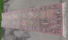 "fine hand knotted pure silk oriental rug runner 10' x 2' 6"""