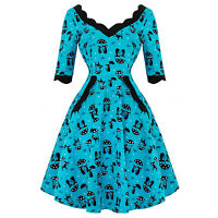 Voodoo Vixen Katnis Cat Blue Rockabilly 1950s Retro Vintage Flared Party Dress