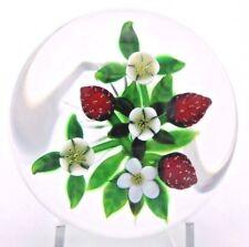 LARGE Splendid  DELMO TARSITANO Flowers Ripe STRAWBERRY Art Glass PAPERWEIGHT