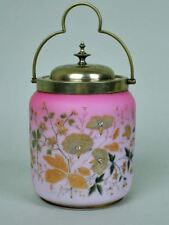 Antique VICTORIAN PINK SATIN GLASS SILVERPLATE HANDLE Cracker Biscuit Cookie Jar