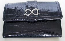 Brighton Black Croc Embossed Leather Wallet with Silver Double Heart Decoration