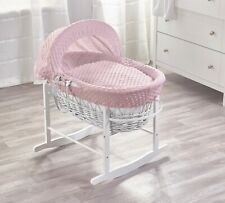 Elegant Baby Pink Dimple White Wicker Moses Basket and White Rocking Stand