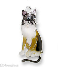 Zarah Zarlite Snowshoe Siamese Cat Charm Silver Plated & Enamel Jump ring - Box