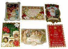 Punch Studio 6 Die-Cut Christmas Cards Antique Ephemera Savior 67118