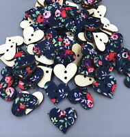 100pcs pasted cloth Mixed Wood Sewing Buttons Heart 2 Holes Scrapbook 18mm