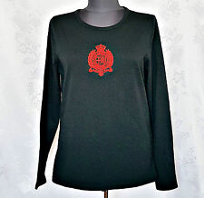 AUTHENTIC RALPH LAUREN LAUREN ACTIVE BLACK LOGO EMBROIDERY WOMEN BLOUSE-SIZE:M