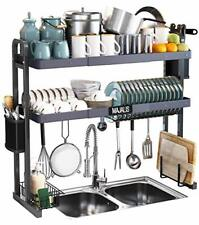 New listing Over The Sink Dish Drying Rack, Stainless Steel 2 Tier Large Dish Drainer