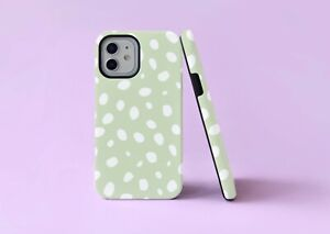 Sage Green Dots Leopard Spots 2 in 1 Hybrid Tough Phone Case/Cover For iPhone