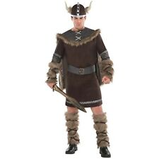 Adults Deluxe Barbarian Viking + Hat Costume Mens Warrior Fancy Dress Outfit