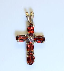 Vintage 10K Gold Estate 1Ct Oval Garnet Religious Cross Pendant Scrap? LQQK!