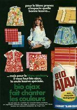 Publicité ancienne lessive bio Ajax 1970 issue de magazine