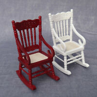 KE_ 1:12 Dollhouse Miniature Wooden Rocking Chair Model Toy DIY House Decor Ey