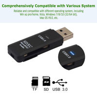 USB 3.0 2 in 1 High Speed SD Memory Card SDHC Micro SDXC MMC TF Card Reader