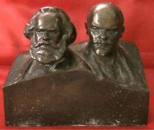 Communists Karl Marx and Lenin Antique russian metal USSR figurine bust 8499u