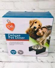 New Pet Deluxe Diner DOG Stainless Steel Bowl Black Wooden Frame 800 ML Central