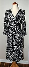 BCBG Maxazria true wrap dress Black White Floral Print S Career Cocktail