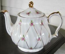 Staffordshire Petite Pink Rose Gold Trim Teapot for San Francisco Music Box Co.