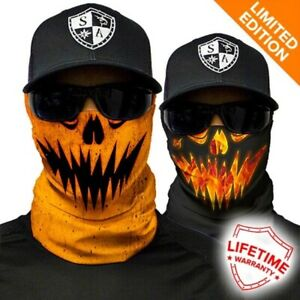 ( 2 ) Salt Armour Face Shield Reversible Halloween Costume Mask Jack-O Pumpkin