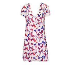Vanessa Bruno butterfly sheer two layer dress pink blue French 38 US 6