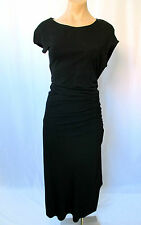 CELINE Black Slinky Cocktail Dress with Ruching on the Side - Size 40